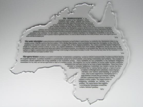 Australien aus Plexiglas gelasert und laserbeschriftet