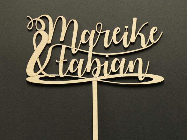 Schild für eine Hochzeitstorte (Cake-Topper)