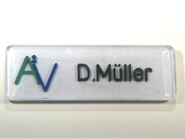Namensschild mit Magnethalter