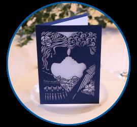 Hochzeitskarte aus 225-Gramm-Papier, gelasert